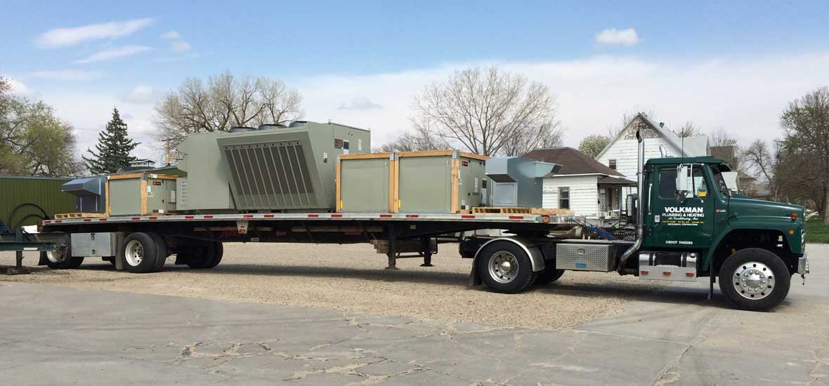 Volkman Plumbing, Heating, and Air Conditioning Air Conditioning Commercial AC Units On Semi-trailer